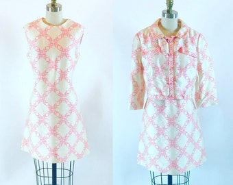 Vintage 1960s Pink and White Two Piece Dress Suit