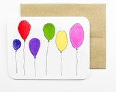 Balloons Card with envelope | Balloons | Balloons with strings | Birthday card | Greeting card | Colourful