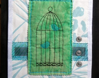 Blue Bird & Cage Art Collage   Quilted Art