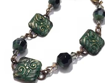 Emerald Green Hand Painted Bracelet