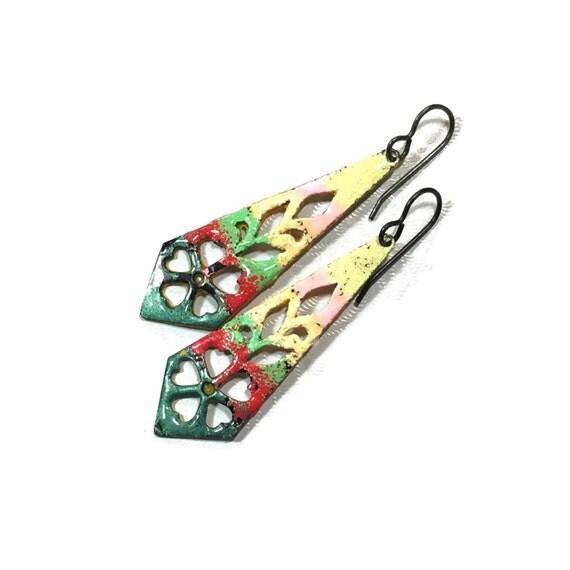 Multi-colored faux enamel painted earrings
