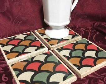 Travertine Tile Coaster Set  Retro Scales Multi