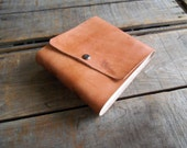 Medium Tan Leather Journal, Blank Hand Dyed Tan Leather Travel Journal, Tan Leather Sketchbook With Snap Closure, Leather Wedding Guest Book