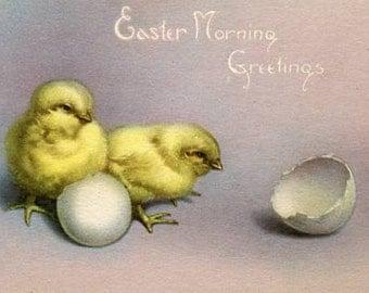 Easter Vintage Postcard  Chick, broken egg shell, Easter Greetings, antique postcard, paper ephemera