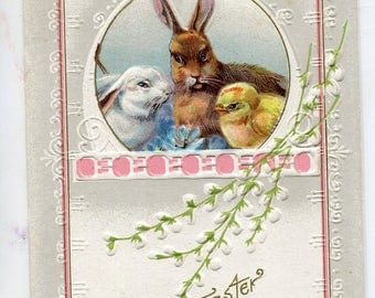 Easter Greeting Vintage  Postcard, Rabbit, brown bunny, white Easter  rabbit antique postcard, Easter chick postcard
