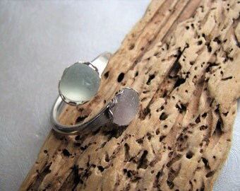 Double Sea Glass Seafoam and Amethyst Ring - Beach Glass Ring -  Beach Glass Jewelry
