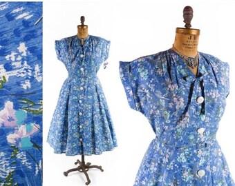 40% OFF SALE Vintage 50s Dress // 1950s Dress // Cotton Floral Dress // NOS Dress // Full Skirt Dress  - sz Xl - 35 Waist