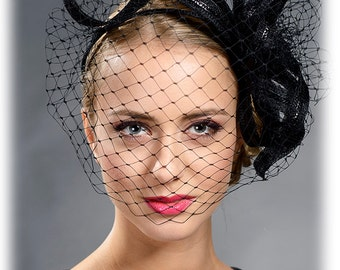 Black stunning large fascinator with face veil- Dramatic outstanding hair accessory for your special occasions