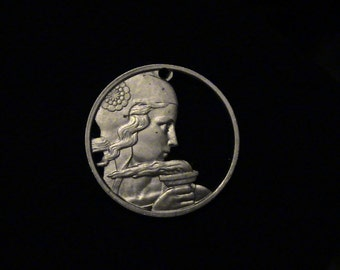 FRANCE - Cut Coin Pendant -  Woman and Torch - 1954