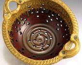 Ash Glaze/Red Glaze Colander, Hand-Thrown, Stoneware