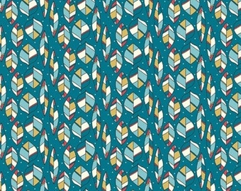 Two (2) Yards -Leaves Feathers Organic Poplin Fabric by Birch Fabrics RG-32 Teal Blue Green
