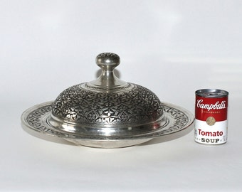 Vintage Persian Qalam Zani Large Serving Dish with Dome Cover