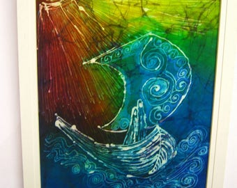 Hand Painted Silk Batik Framed Picture The Voyage