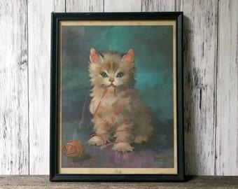 cat print Framed cat Art Kitten picture Wall decor Florence Kroger Art Vintage cat art fluffy