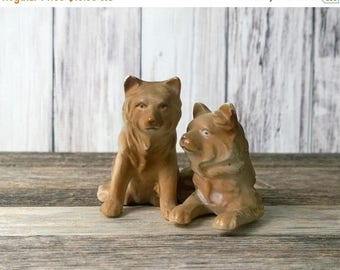 SALE Dog Pair Dog Statue Dog Figurine 2 dogs Brown dogs Japan Bone China Dog collectible