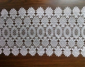 Venetian All Lace Table Runner, Lace Dresser Scarf, or Lace Coffee Table Runner in Antique White in Various sizes