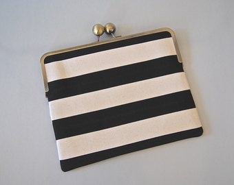 "iPad and Kindle Fire HD 8.9"" Clutch Case  ""Black Stripes"""