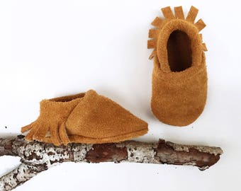 BASICS// Suede Wheat Fringe Soft Soled Leather Moccasins Shoes Baby and Toddler Free Ship in US