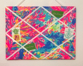 New memo board made with Lilly Pulitzer Palm Beach Coral fabric