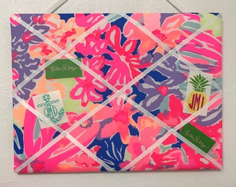 New memo board made with Lilly Pulitzer Playa Hermosa fabric