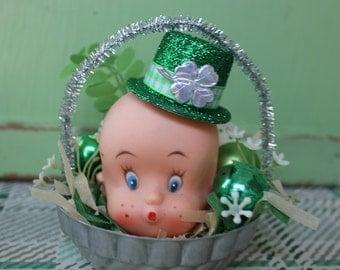 Vintage Style St Patricks Day Ornament/Decoration  - Tin Mold, Adorable Leprechaun, Whistling