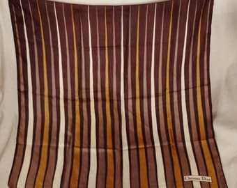 Designer CHRISTIAN DIOR  SCARF Silk Twill 1970's app 30 x 30  inches stunning  brilliant colors great condition