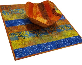 Table Topper Quilt in Blue and Orange Stripes