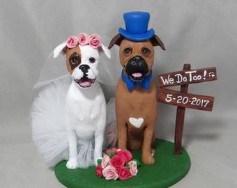 Custom Made Clay 2 Pet Dog Cat Wedding Cake Topper Sculpture Boxers Cats Animals pets people