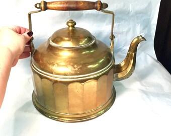VINTAGE Brass kettle oversized large kettle   Wooden Handlle