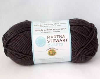 Destash, Red Worsted Yarn, Lion Brand Martha Stewart Extra Soft Wool Blend Yarn, Mink Brown