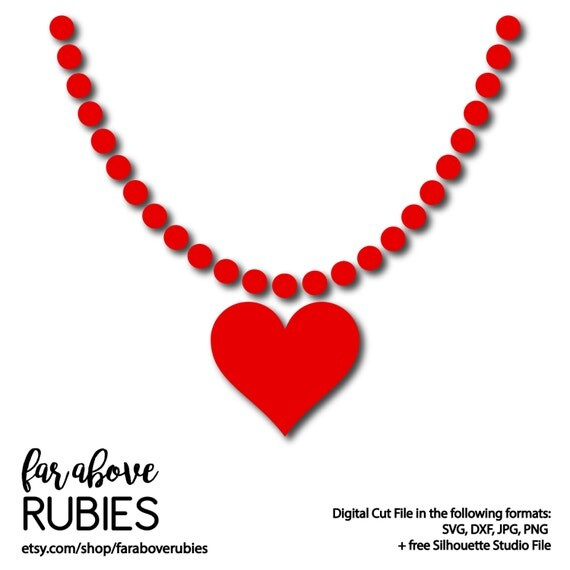 Valentine S Day Heart Bead Necklace Svg Dxf Png Jpg