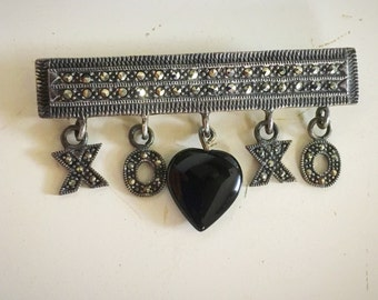 Hugs and Kisses Sterling Silver Marcasite Onyx Heart Brooch Pin