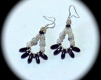 White Quartz and Black Spikes  Long Dangle Hoop Style Earrings Everyday Wear Fashion Boho Native Hippie Tribal Ethnic African Cottage Chic