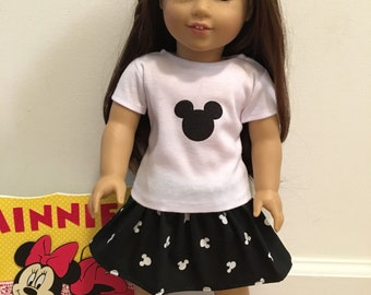 18 inch Doll T-Shirt with Skirt Set Black & White Mickey Silhouette Print