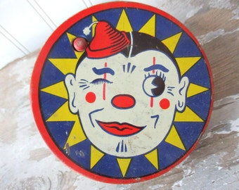 Vintage tin clown noisemaker party new years mardi gras  metal noise maker Kirchhof Life of the Party toy