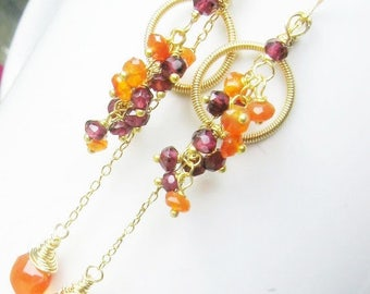 Gold Carnelian Garnet Earrings, Gemstone Tassel, Long Dangles, Clusters, Gold Fill, Gifts for Her, Hand Forged, Coiled Gold, Chandelier