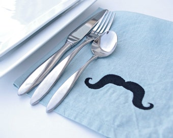 Mustache Napkins Set of 6 in AQUA Linen Great Gift Idea Christmas Gifts Blue Napkins Dinner Napkins Geeks and Nerds