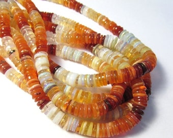 AAA Natural Fire Opal BIG Slice Rondelle Beads 6mm 7mm, 18 Inch Strand,Mexican Cherry Fire Opal , ROndelle Opal 6mm 7mm Beads