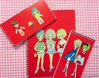 Vintage Japan Showa Era Lot of 3 Macoto Style Anime Retro Girl Note Books