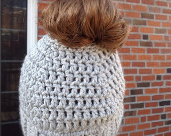 Messy bun-ponytail hat in women - Ready to Ship Free in the US