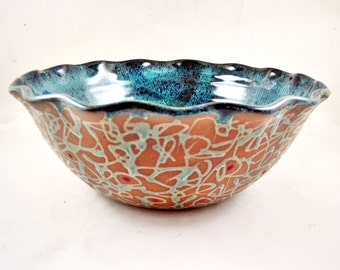 Pottery serving bowl, ceramic decorative bowl, teal blue serving bowl, handmade pottery gift - In stock 87 SB