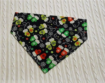 Dog Bandana with Mittens in Over Dog Collar Style Sizes XS to XL