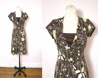 Brown Vintage Dress - 1990s Brown Floral Print Dress Size S