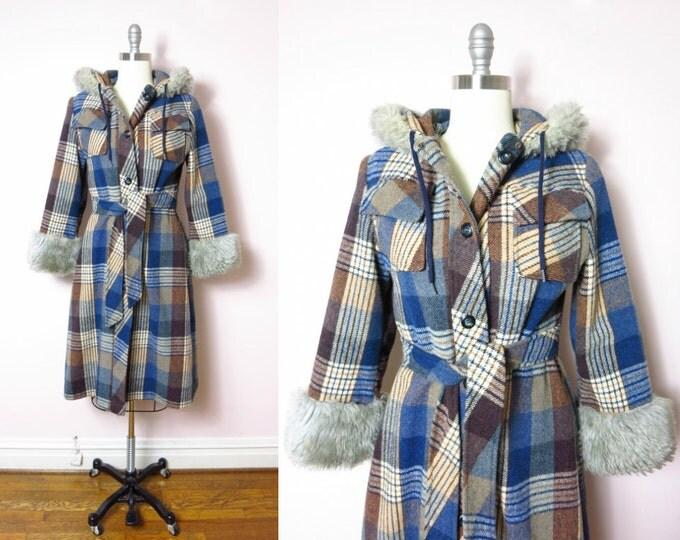 1970s Blue & Brown Plaid Wool Hooded Coat M