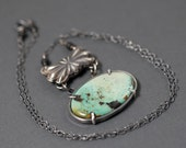 """Carico Lake Turquoise Onyx Sterling Silver Handmade double sided pendant butterfly conch sterling 18"""" Handmade Jewelry pendant necklace"""