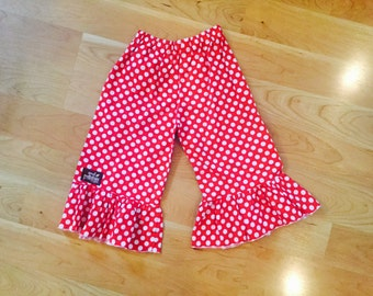 Red and White Dot Ruffle Capri Pants-SALE-size 5T