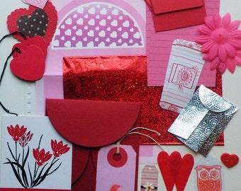 Valentine Snail Mail, Snail Mail Starter Kit, Junk Journal Kit, Love Snail Mail Kit, Romance Snail Mail Kit, 50 + PC