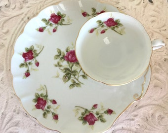 Vintage Lefton China Floral Snack Set Table Decor Bridal Shower Wedding Retro Kitchen Serving Dish Dinnerware Glassware
