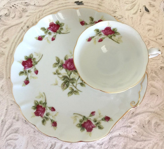 Vintage Lefton China Floral Snack Set Table Decor Bridal Shower Wedding Retro Kitchen Serving Dish Dinnerware Glassware