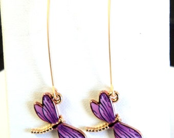 "Earrings, Purple Dragonflies Satin Hamilton Gold Plated Fancy Ear wires, 2 1/2"", Gift for her, Dragonfly Lover Gift"